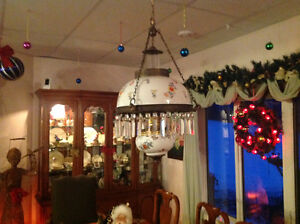 ANTIQUE LIGHT FIXTURE WITH 2 MATCHING WALL SCONES