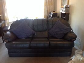 Like New Real Thick Leather Navy Blue 3 Piece Suite - 3 Seater Sofa, Swivel Recliner & Single Chair