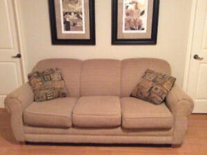 Couch 6.5' W x 3' D, Love Seat 5' W x 3'  includes 4 pillows