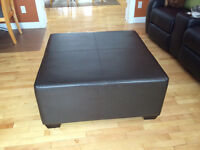 Large black leather ottoman - 3'x3'  in Pepper Creek