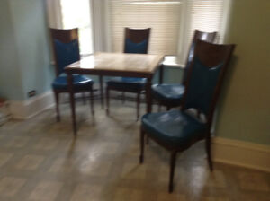 Very Unique Dining or Card table with Stone Top and 4 Chairs
