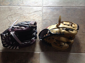 2 Rawlings 9 inch baseball gloves