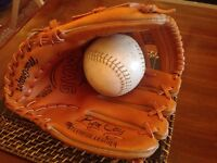 Baseball glove and ball from 1970's