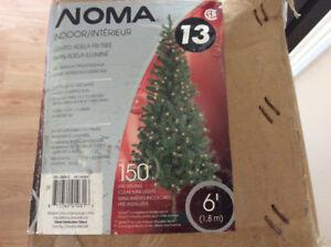 6 foot indoor Christmas tree with working lights,