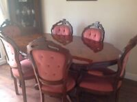Italian design, table and chairs.