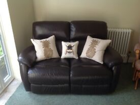 Reclinable leather sofa