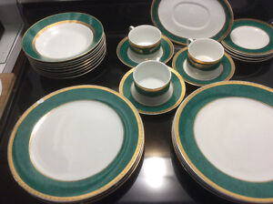 Fine Porcelain Dishes 18KT Gold On White with Green Trim