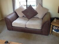 Three 3 Piece Suite Faux Leather Sofa + Fabric Colour - Chocolate Cappuccino Biscuit Cream Brown