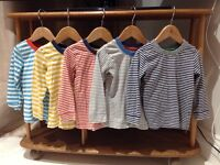 5 long sleeve striped tops - 18-24 Mths