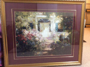 Beautiful garden scene framed print