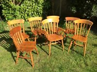 Set of 7 assorted farmhouse wooden chairs