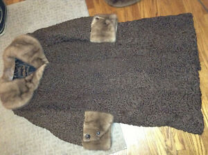 Gorgeous brown persian lamb with mink ladies coat for sale
