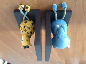 Gorgeous Solid Wood Animal Bookends- Great for Nursery!