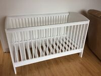 White hand-painted cot bed good condition