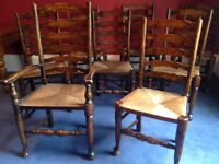 Table and 8 Late Victorian Ladder Back Chairs