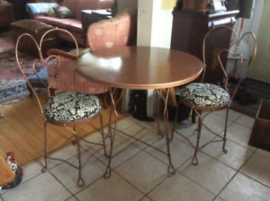 Vintage 1950's twisted iron ice cream parlour table & chairs