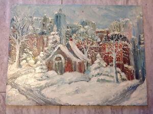 Peinture à huile Église juive centre-ville Montréal BP 1962