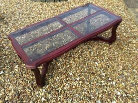 2 sturdy Mahogany Wood Coffee Tables, inlaid Glass tops