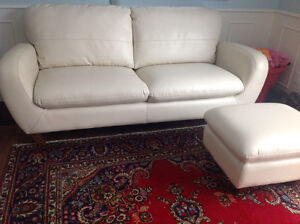 Couch, sofa, with ottoman, cream colour like new