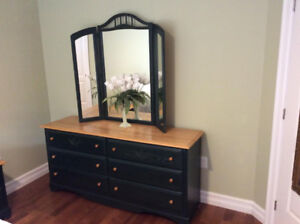 Pine dresser, mirror and 2 night tables