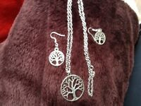 Tree of life necklace and earring set