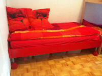Single bed with mattress red in color
