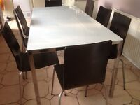 Large dining table & 8 chairs