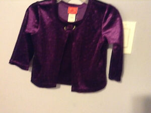 GIRL'S 12 - 18 mth VELOUR FOOLER TOP     NEW WITH TAGS ON