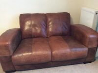 DFS 2 Seater Leather Sofa and Footstool - Caesar