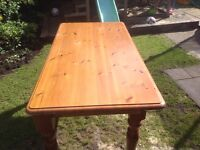 Pine table and four chairs £75