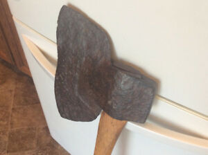 Antique BLACKSMITH made hand forged iron BROAD AXE !