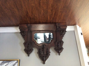 Antique Mirror with shelf.