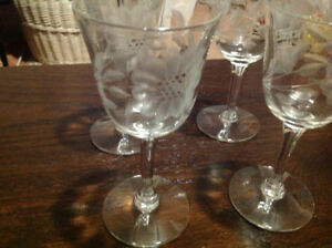 "Vintage ""Cornflower"" sherry /liquor glasses (4)"