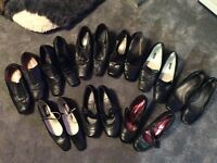 9 pairs various black leather ladies shoes size 3