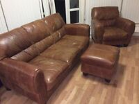 Brown real leather 3 seater couch, chair and footstool