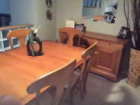 Solid wood dining room table and hutch side board