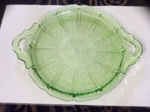 "Green depression glass 10 1/4"" serving tray/cake plate"