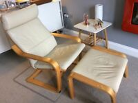 IKEA Poang recliner chair and footstool in cream leather.