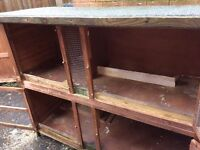 Large two storey guinea pig or rabbit hutch and large run