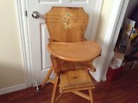 Wood high chair with tray