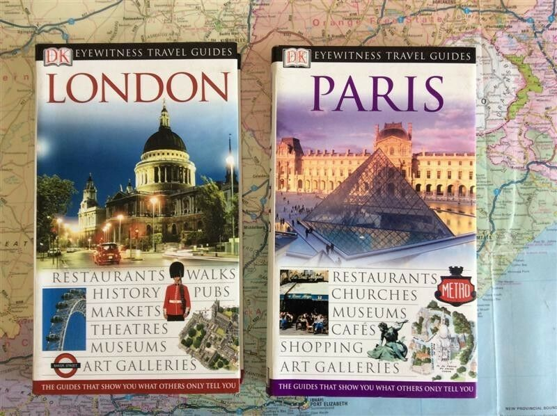 DK Eyewitness Travel Guides for Paris and London.