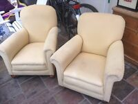 Two fabric easy arm chairs vintage
