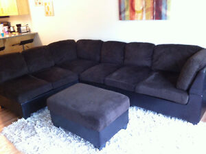 Microfiber/Faux Leather 3-Piece Sectional in Chocolate