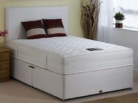 -AMAZING OFFER- DOUBLE DIVAN Bed with SUPER ORTHOPEDIC Mattress--in white black and cream-available