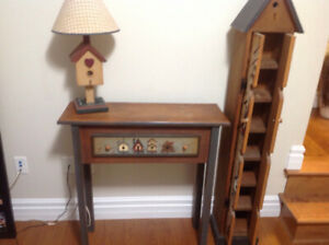 Bird house lamp, bird house cd cabinet, bird house table