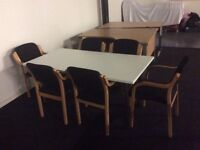 White rectangle meeting table and 6 chairs