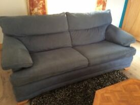 Lovely blue suede effect sofa & arm chair