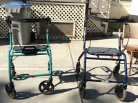 2 Dolomite folding 4-wheel walkers in excellent condition