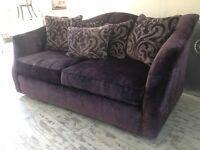 purple velvet 3 seater sofa