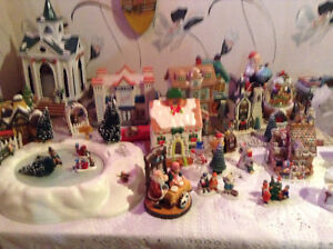 Nativity set , with Christmas village with lights